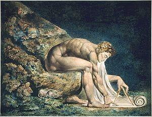 Εικ. 2. Ο Νεύτωνας, του Ουίλιαμ Μπλέικ (1795), έγχρωμος πίνακας.
