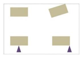 Η σφαίρα κτυπά τη μία ξύλινη δοκό στο κέντρο και η άλλη εκτός κέντρου